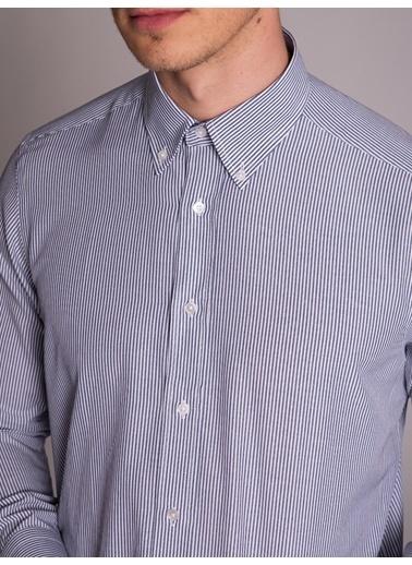 Dufy Sıyah Çızgılı Erkek Gömlek - Regular Fıt Lacivert